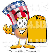 Illustration of a Cartoon Uncle Sam Mascot Holding a Yellow Sales Price Tag by Toons4Biz