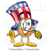 Illustration of a Cartoon Uncle Sam Mascot Looking Through a Magnifying Glass by Toons4Biz