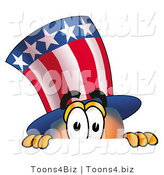 Illustration of a Cartoon Uncle Sam Mascot Peeking over a Surface by Toons4Biz