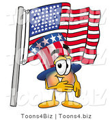 Illustration of a Cartoon Uncle Sam Mascot Pledging Allegiance to an American Flag by Toons4Biz