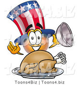 Illustration of a Cartoon Uncle Sam Mascot Serving a Thanksgiving Turkey on a Platter by Toons4Biz