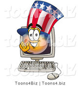Illustration of a Cartoon Uncle Sam Mascot Waving from Inside a Computer Screen by Toons4Biz