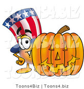 Illustration of a Cartoon Uncle Sam Mascot with a Carved Halloween Pumpkin by Toons4Biz