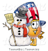 Illustration of a Cartoon Uncle Sam Mascot with a Snowman on Christmas by Toons4Biz