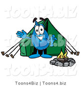 Illustration of a Cartoon Water Drop Mascot Camping with a Tent and Fire by Toons4Biz
