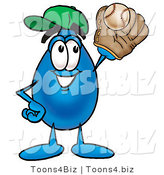 Illustration of a Cartoon Water Drop Mascot Catching a Baseball with a Glove by Toons4Biz
