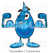 Illustration of a Cartoon Water Drop Mascot Flexing His Arm Muscles by Toons4Biz