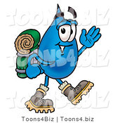 Illustration of a Cartoon Water Drop Mascot Hiking and Carrying a Backpack by Toons4Biz