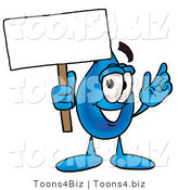 Illustration of a Cartoon Water Drop Mascot Holding a Blank Sign by Toons4Biz