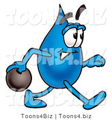 Illustration of a Cartoon Water Drop Mascot Holding a Bowling Ball by Toons4Biz
