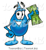 Illustration of a Cartoon Water Drop Mascot Holding a Dollar Bill by Toons4Biz