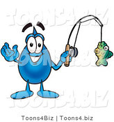 Illustration of a Cartoon Water Drop Mascot Holding a Fish on a Fishing Pole by Toons4Biz