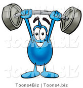 Illustration of a Cartoon Water Drop Mascot Holding a Heavy Barbell Above His Head by Toons4Biz