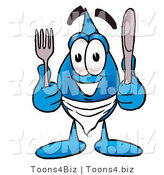 Illustration of a Cartoon Water Drop Mascot Holding a Knife and Fork by Toons4Biz