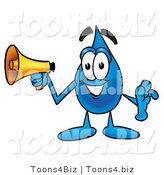 Illustration of a Cartoon Water Drop Mascot Holding a Megaphone by Toons4Biz