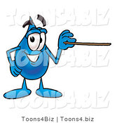 Illustration of a Cartoon Water Drop Mascot Holding a Pointer Stick by Toons4Biz