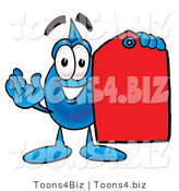 Illustration of a Cartoon Water Drop Mascot Holding a Red Sales Price Tag by Toons4Biz