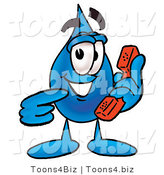 Illustration of a Cartoon Water Drop Mascot Holding a Telephone by Toons4Biz