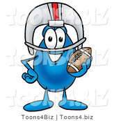 Illustration of a Cartoon Water Drop Mascot in a Helmet, Holding a Football by Toons4Biz