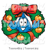Illustration of a Cartoon Water Drop Mascot in the Center of a Christmas Wreath by Toons4Biz