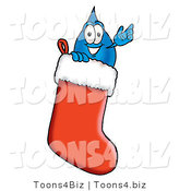 Illustration of a Cartoon Water Drop Mascot Inside a Red Christmas Stocking by Toons4Biz