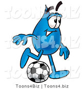 Illustration of a Cartoon Water Drop Mascot Kicking a Soccer Ball by Toons4Biz
