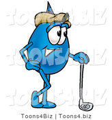 Illustration of a Cartoon Water Drop Mascot Leaning on a Golf Club While Golfing by Toons4Biz