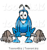 Illustration of a Cartoon Water Drop Mascot Lifting a Heavy Barbell by Toons4Biz