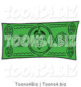 Illustration of a Cartoon Water Drop Mascot on a Dollar Bill by Toons4Biz