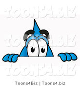 Illustration of a Cartoon Water Drop Mascot Peeking over a Surface by Toons4Biz
