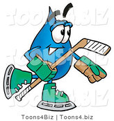 Illustration of a Cartoon Water Drop Mascot Playing Ice Hockey by Toons4Biz
