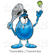 Illustration of a Cartoon Water Drop Mascot Preparing to Hit a Tennis Ball by Toons4Biz