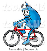 Illustration of a Cartoon Water Drop Mascot Riding a Bicycle by Toons4Biz