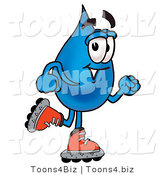 Illustration of a Cartoon Water Drop Mascot Roller Blading on Inline Skates by Toons4Biz