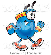 Illustration of a Cartoon Water Drop Mascot Speed Walking or Jogging by Toons4Biz