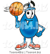 Illustration of a Cartoon Water Drop Mascot Spinning a Basketball on His Finger by Toons4Biz