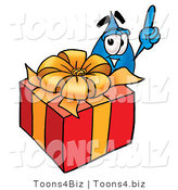 Illustration of a Cartoon Water Drop Mascot Standing by a Christmas Present by Toons4Biz