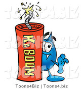 Illustration of a Cartoon Water Drop Mascot Standing with a Lit Stick of Dynamite by Toons4Biz