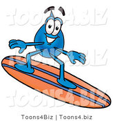 Illustration of a Cartoon Water Drop Mascot Surfing on a Blue and Orange Surfboard by Toons4Biz