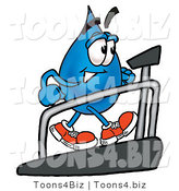 Illustration of a Cartoon Water Drop Mascot Walking on a Treadmill in a Fitness Gym by Toons4Biz
