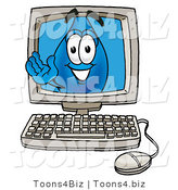 Illustration of a Cartoon Water Drop Mascot Waving from Inside a Computer Screen by Toons4Biz
