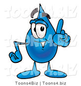 Illustration of a Cartoon Water Drop Mascot Waving His Finger While Lecturing by Toons4Biz