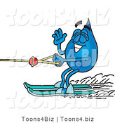 Illustration of a Cartoon Water Drop Mascot Waving While Water Skiing by Toons4Biz