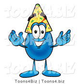 Illustration of a Cartoon Water Drop Mascot Wearing a Birthday Party Hat by Toons4Biz