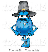 Illustration of a Cartoon Water Drop Mascot Wearing a Pilgrim Hat on Thanksgiving by Toons4Biz