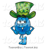 Illustration of a Cartoon Water Drop Mascot Wearing a Saint Patrick's Day Hat with a Clover by Toons4Biz