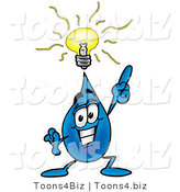 Illustration of a Cartoon Water Drop Mascot with a Bright Idea by Toons4Biz