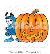 Illustration of a Cartoon Water Drop Mascot with a Carved Halloween Pumpkin by Toons4Biz