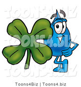 Illustration of a Cartoon Water Drop Mascot with a Green Four Leaf Clover on St Paddy's or St Patricks Day by Toons4Biz