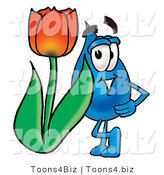 Illustration of a Cartoon Water Drop Mascot with a Red Tulip Flower in the Spring by Toons4Biz